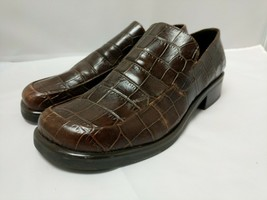 Franco Sarto Bocca Womens Brown Leather Croc Print Loafers Flex Shoe Size 8 1/2M - $29.69