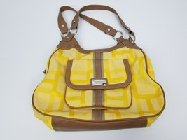 Nine West YELLOW Canvas Fabric Mono Logo Leather Trim Purse 3 Section Pockets  - $17.41