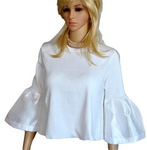Bell Sleeve Blouse Ruffled Lantern Sleeves White Flounce Top Tunic - $14.00