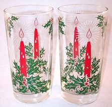 Set of 2 Holly Candle Red & Green Holiday Drinking Glasses Tumblers 12 oz. - $14.99