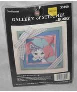 """Neat 5"""" X 5"""" Bucilla Needlepoint Kit Gallery Of Stitches Peek A Boo Kitten - $12.59"""