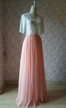 Coral Pink Long Tulle Skirt Coral Wedding Guest Tulle Skirt Floor Length image 4