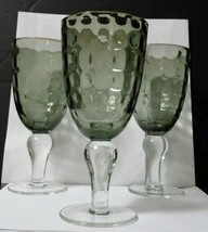 3 Hand Blown Water/Iced Tea Goblets Thumbprint/Dots Smoke Gray Bowl w/Cl... - $6.68