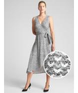 GAP Softspun Sleeveless Wrap Midi Dress, Poly/Rayon, Black Print, Size L... - $69.99