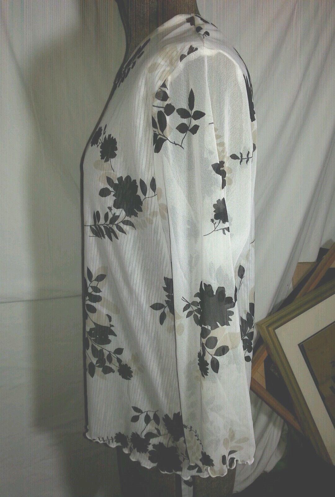 """""""i.e."""" Occasion Black & White, Floral, 3/4 Sleeve Blouse, Sz L, Nylon, EUC"""