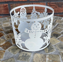 Round Candle Holder Bath & Body Works White Snowman Tree Metal for 3 Wick Candle - $4.90