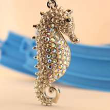Silver Seahorse Keychain Crystal Charm Cute Sea Water Animal Present Gif... - $18.17