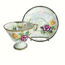 NORLEANS Lusterware Pedestal Tea Cup & Saucer Set Poppy August Birthday ... - $20.76