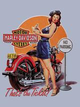 Vintage Harley Davidson pinup girl writing ticket steel street sign bike... - $19.79