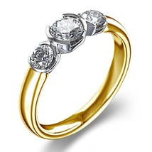 14K Yellow Gold Plated 925 Silver Round Cut White CZ Three Stone Engagement Ring - $55.86