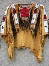 Old Style Native American Tan Buffalo Suede Leather Bead Powwow War Shirt NA226 - $199.00
