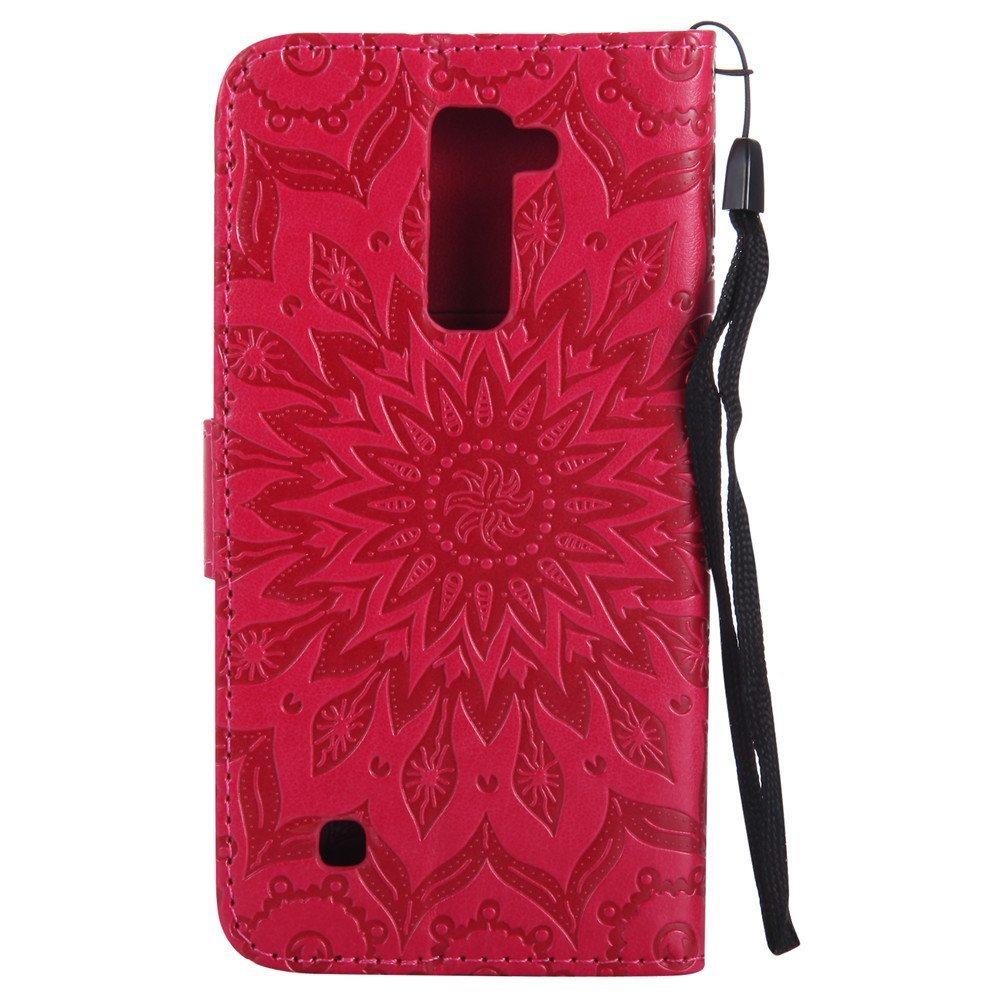 LG K10 Case,LG Premier LTE Case,XYX [Red Sunflower][Wrist Strap][Kickstand] Embo