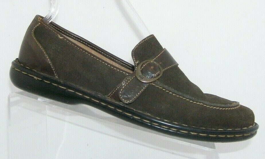 Born brown suede round toe buckle strap slip on stitched loafer flats 11M EU43