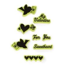 Inkadinkado Folk Valentine Cling Stamp Valentines Scrapbooking Stamps Set - $7.91