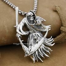 LINSION 925 Sterling Silver Grim Reaper Scythe Death Mens Punk Pendant N... - $75.99+