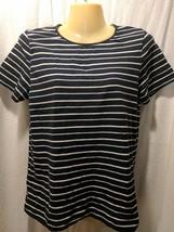 Liz Claiborne Collections Sz M Black & White Striped Short Sleeve Shirt - $8.90