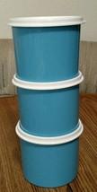 NEW Tupperware set of 3 Mini Canisters BLUE 2 cups (500ml) each Aqua lot - $9.69