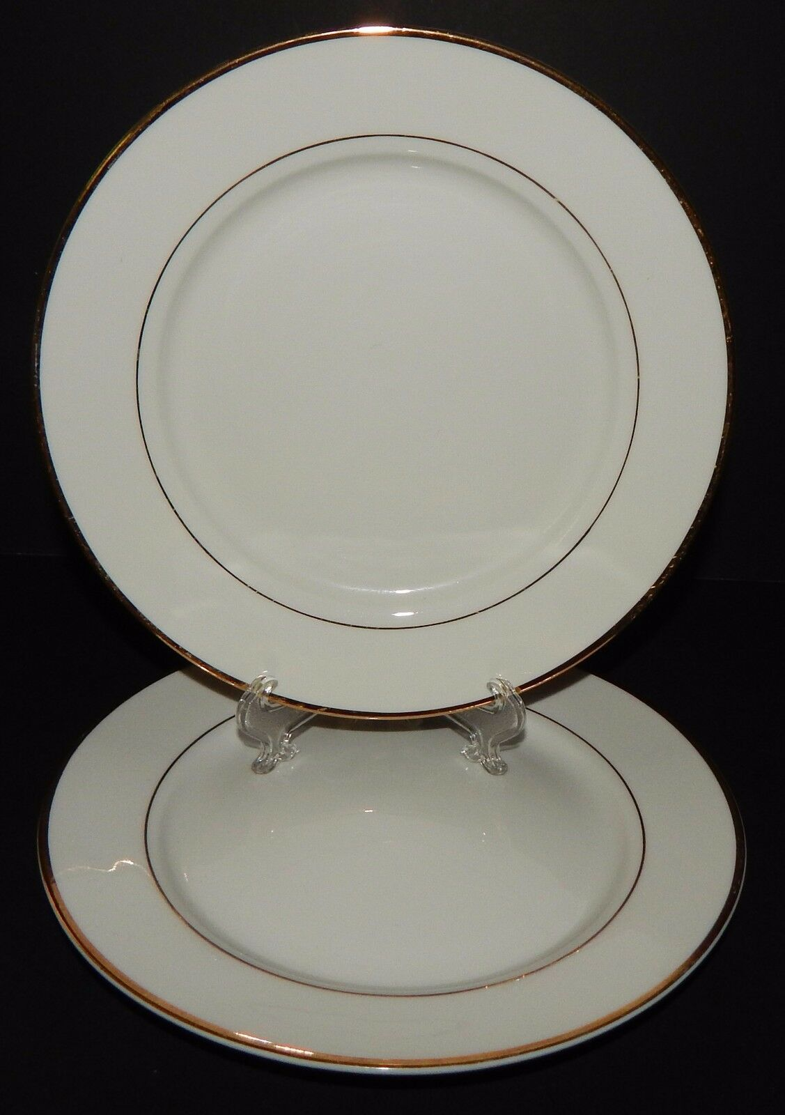 2 Gibson Designs Housewares Everyday  Bread Plates China White with Gold Rim - $22.76