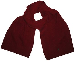 POLO RALPH LAUREN MENS LAMBS WOOL RECTANGLE SCARF WINE ONE SIZE 8360-1 - $34.64