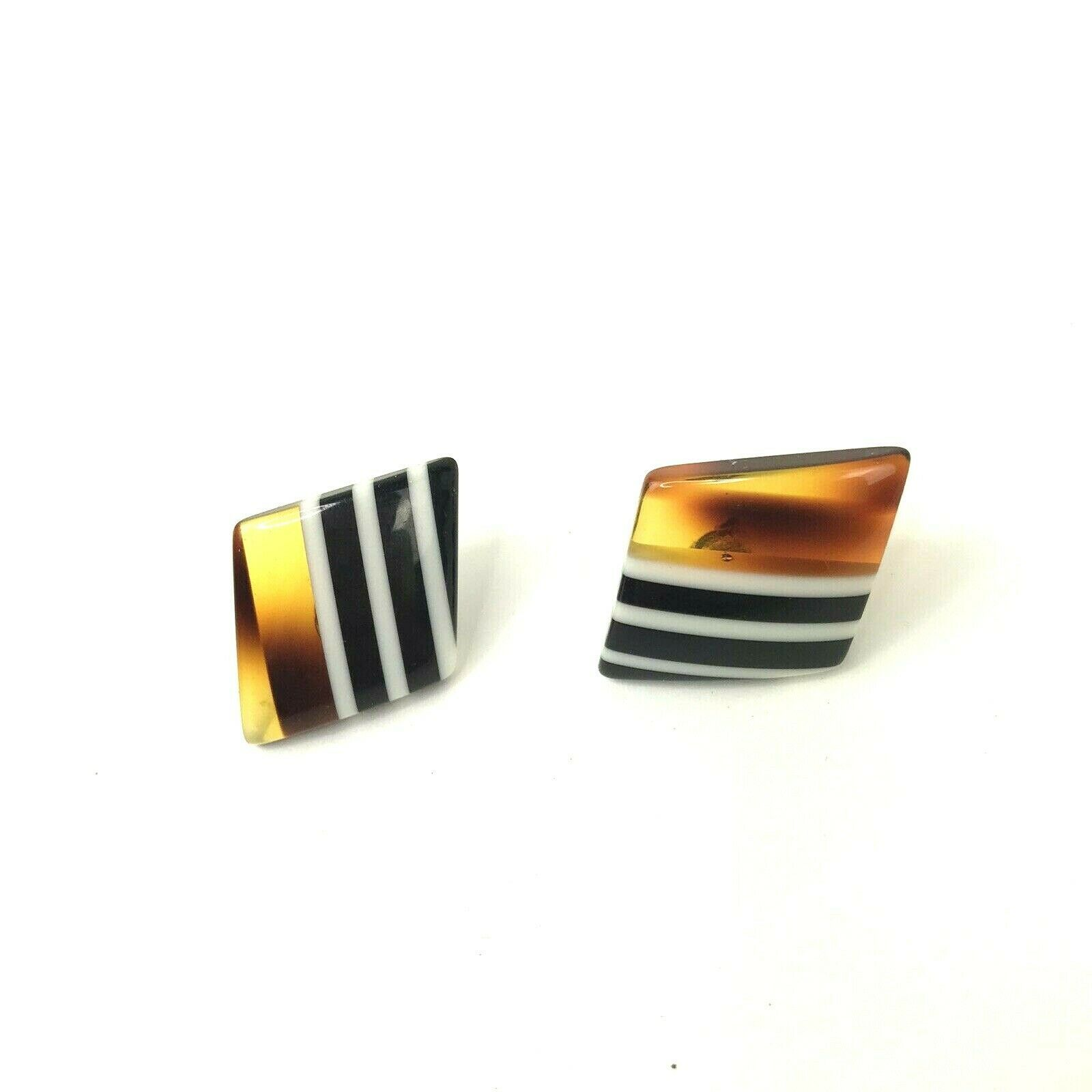 Primary image for Vtg Plastic Earrings Brown Amber Tone with Black white Stripes Pierced Mod Geo
