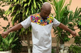 Odeneho Wear Men's Polished Cotton Top/Ankara  Patch Design. African Clothing. L - $72.26