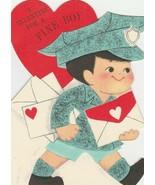 Vintage Valentine Card Mailman for a Fine Boy Hallmark 1960's Die Cut - $6.92