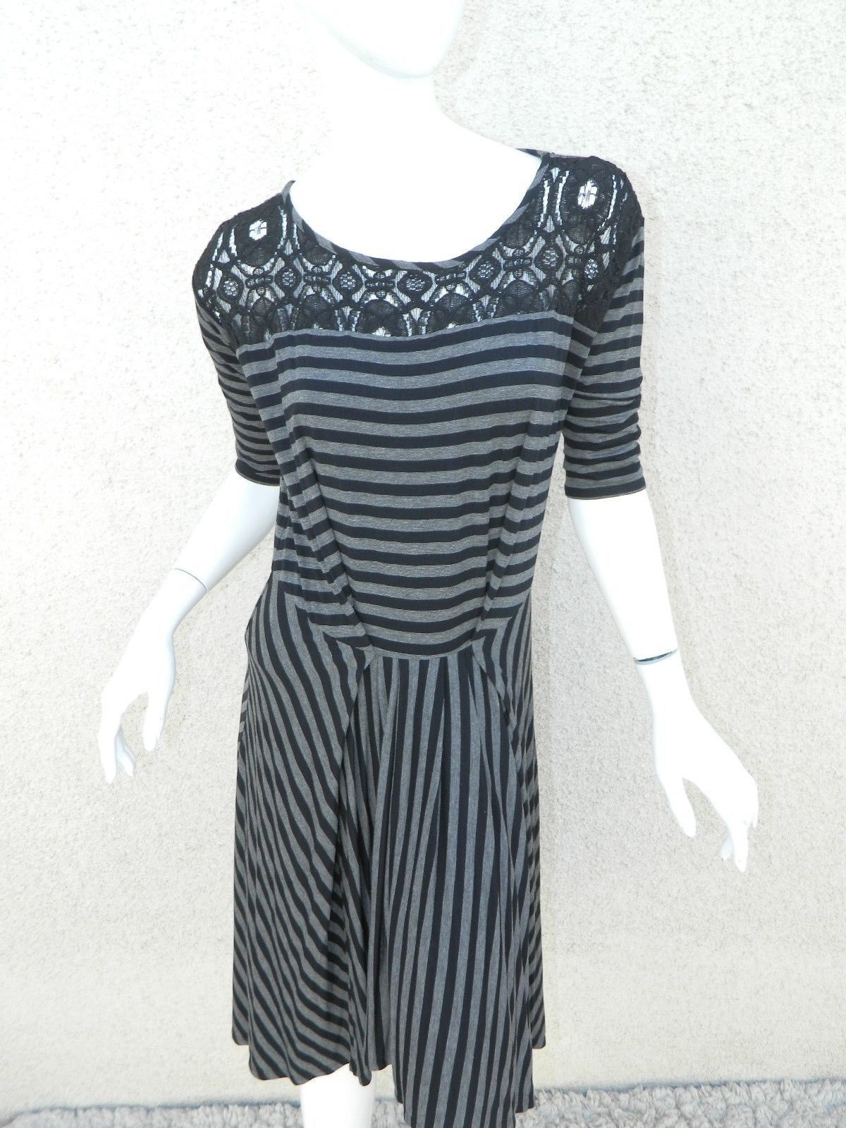 575fd3c38c67 Anthropologie Tiny Dress Black and Gray Stripes Black Lace Size XSP