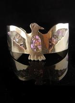 Vintage Mexican bracelet - Bikers Eagle cuff - abalone mosaic - womens j... - $125.00