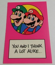 "Vintage Super Mario Brothers Greeting Card Nintendo 1989 ""Think a Lot Al... - $9.99"