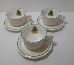 3 Cups & Saucers Pfaltzgraff Christmas Heritage Tree Tea Coffee - $19.34