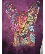 The Mountain Abyssinian Cat Shirt Purple Tie Dye XXL Kitty Face Colorful - $15.82