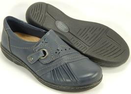 Earth Origins Glendale Gabrielle Sz 7 M EU 38 Women's Leather Slip-On Shoes Navy - $47.47