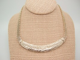 Vtg 80s Raised Floral Silver tone Bar mesh chain Necklace Boho Mod Metal  - $19.77
