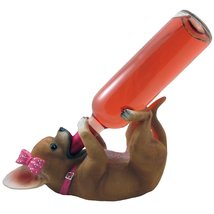 Pretty in Pink Girl Chihuahua Wine Bottle Holder Sculpture in Dog Statue... - $29.65