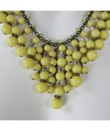 Vintage 60s Yellow Beaded Bib Collar Choker Necklace Chain Space Beads C... - $59.35