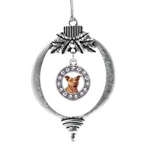 Inspired Silver Red Pit Bull Circle Holiday Ornament - $14.69