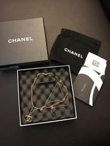 NIB New CHANEL CC Pink Swarovski Multi Strand Gold Chain Pendent Charm N... - $1,207.92