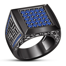 Blue Sapphire Round Black Gold Plated 925 Silver Engagement Wedding Band... - $92.99