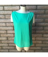 ASICS Womens Active Top Green Stripes Keyhole Back Sleeveless Exercise O... - $14.84