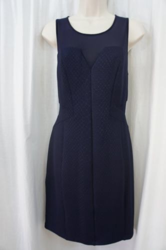 Guess Los Angeles Dress Sz 12 Midnight Blue Sheer Sleeveless Cocktail Party