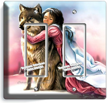 LITTLE PRINCESS GIRL HUGGING GRAY WOLF LIGHT 2 GFCI OUTLET WALL PLATE RO... - $11.69