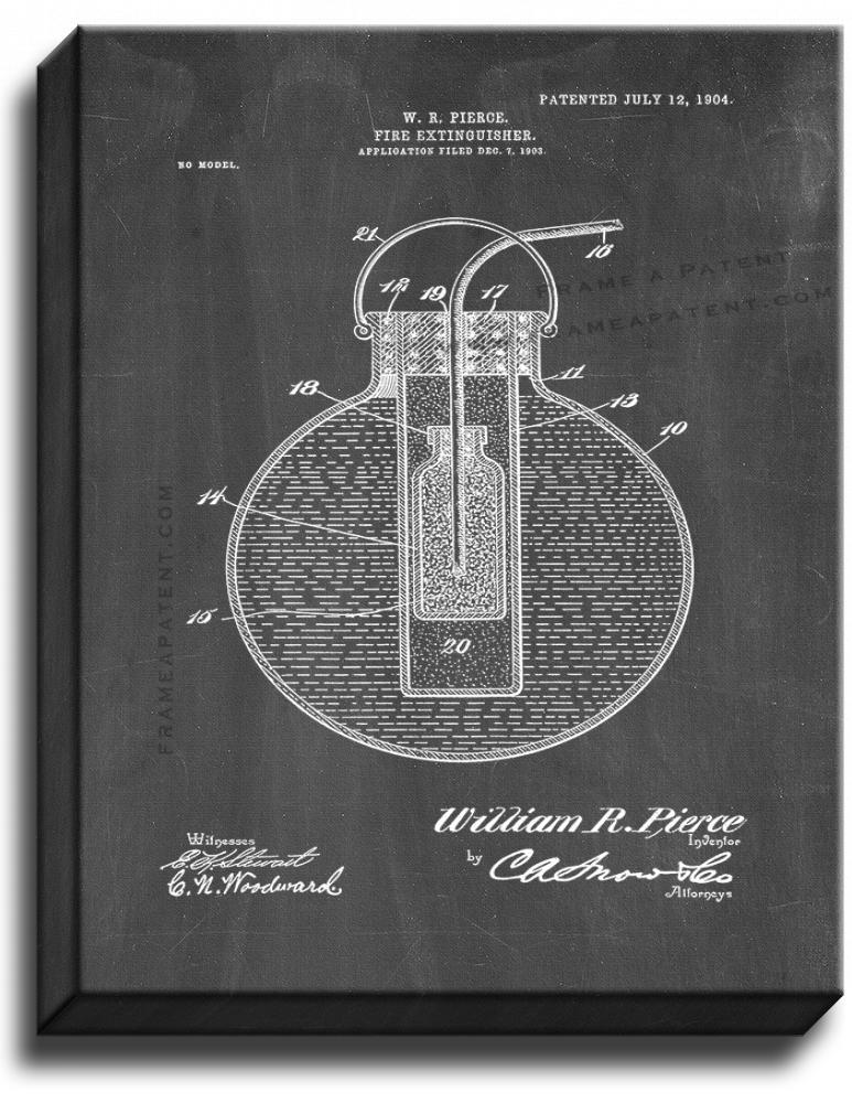 Primary image for Fire-extinguisher Patent Print Chalkboard on Canvas