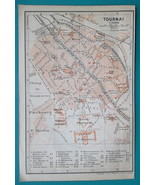 "1905 BAEDEKER MAP - Belgium Tournai City Town Plan 4"" x 6"" (10 x 15 cm) - $6.75"