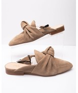 Zara Womens Leather Open Back Loafers With Tie Sz 6.5 Eu 37 1522/001 Slides Tan - $59.39