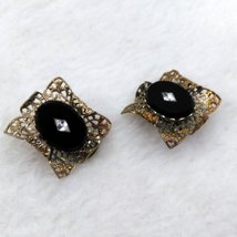 Onyx and Filigree Gold Tone Clip On Earrings with Faux Diamond look Center Inlay image 4