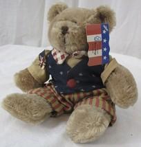"""2005 March of Dimes Plush Teddy Bear Patriotic Flag Bear Plushland 8.5"""" - $3.46"""