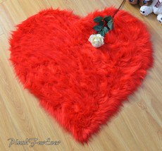 "60"" x 60"" Valentine's Day Heart Red Cute Rug Shaggy Faux Fur Gift For Her - $104.50"