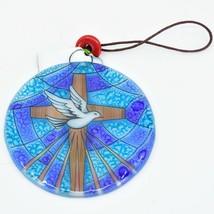 Dove with Cross Religious Fused Art Glass Ornament Sun Catcher Handmade Ecuador