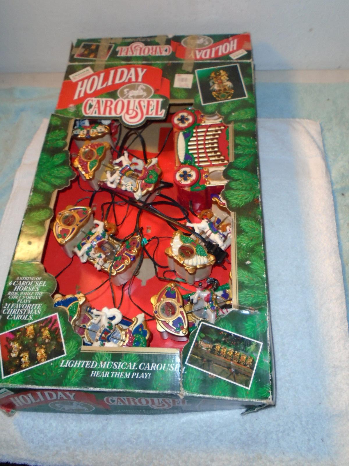 Holiday Carousel Mr Christmas Lighted Musical 6 Horses 21 Caroling Songs  - $79.99