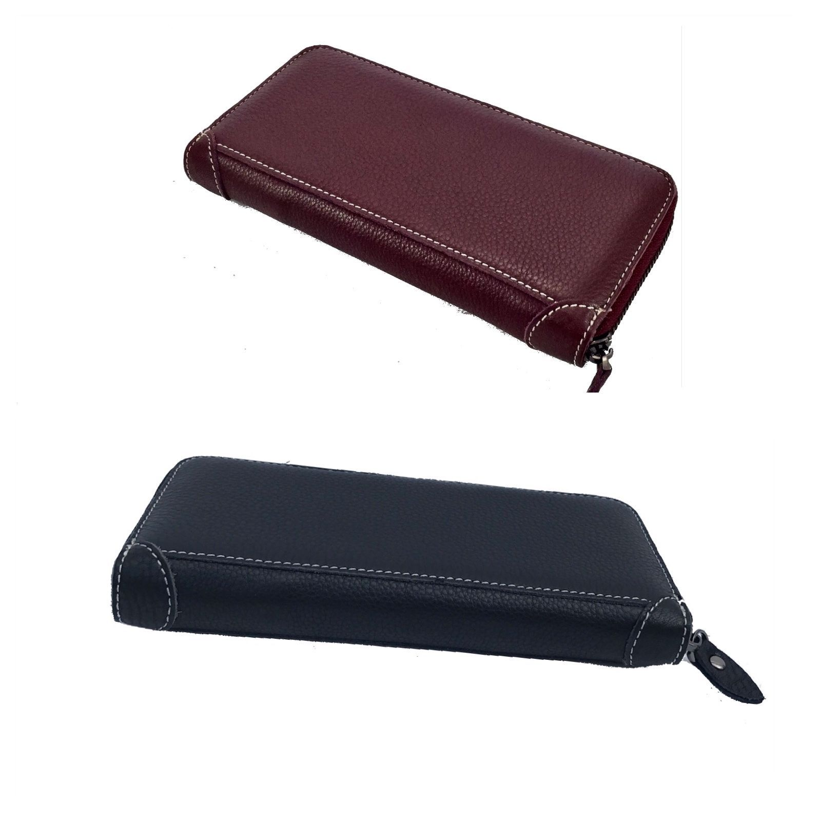 New Soft Pebbled Italian Leather Zip Around Wallet Clutch in Black and Burgundy